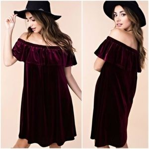 NEW Velvet Off The Shoulder Ruffle Dress Purple
